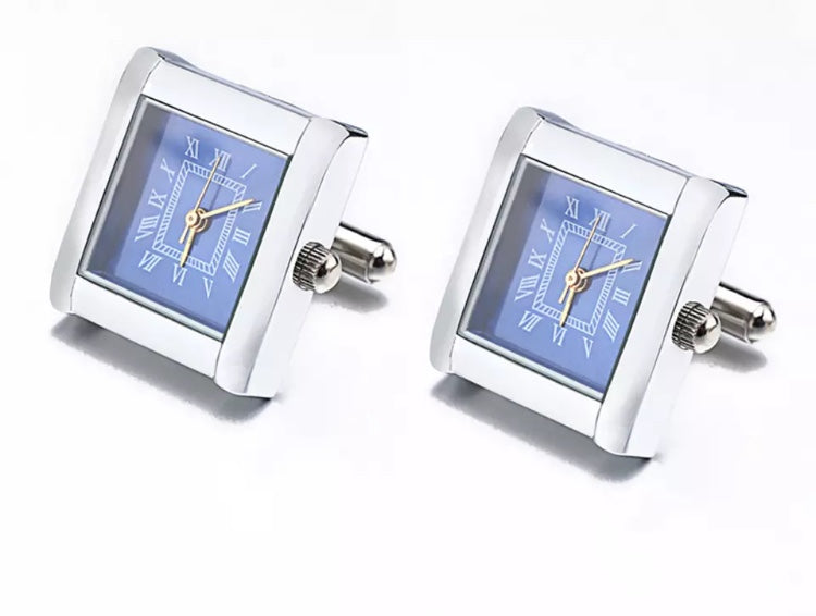 Stylish Working Square Watch Cuff links Stainless steel with Blue Dial