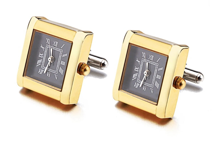 Stylish Working Square Watch Cuff links Gold coloured with Black Dial