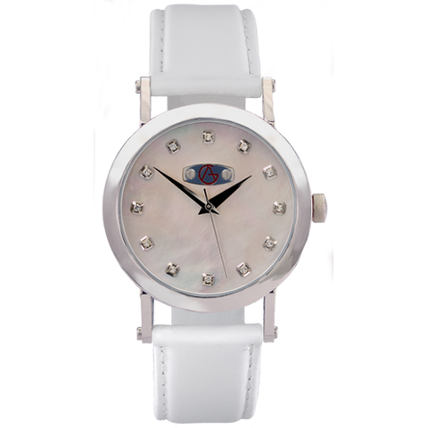 Classic Sport White Mother of Pearl Dial with Chrystal Hour Markers and white leather strap