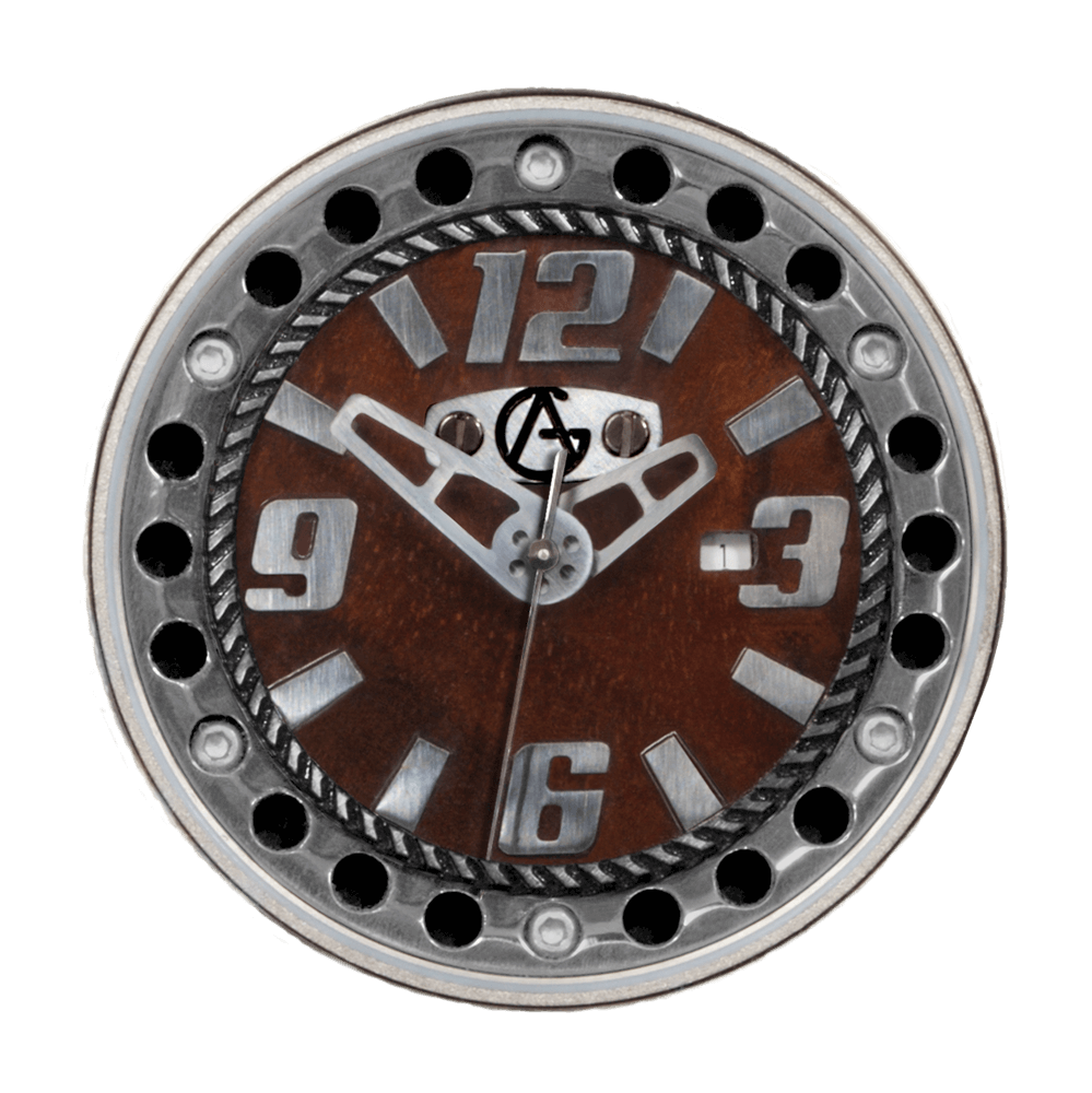 Synchro Dial Walnut-Titanium Numbers & Chapter Ring Swiss Quartz Movement