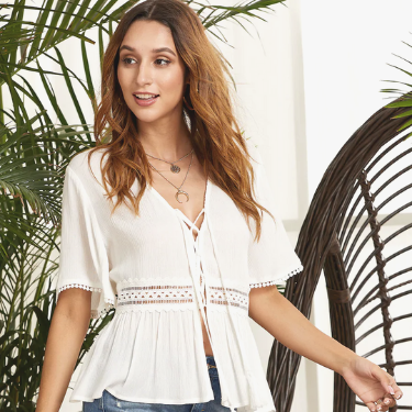 Lace Up Fringe Detail Lace Insert Peplum Top