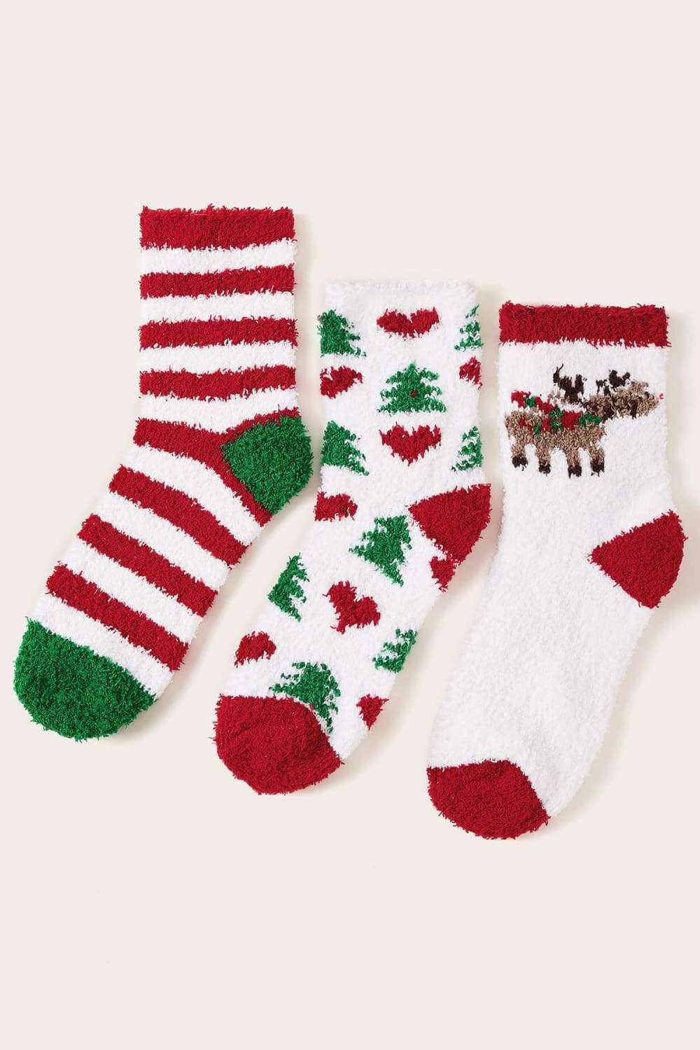3 Pack Christmas Pattern Fluffy Socks - Socks - Evan & Jane