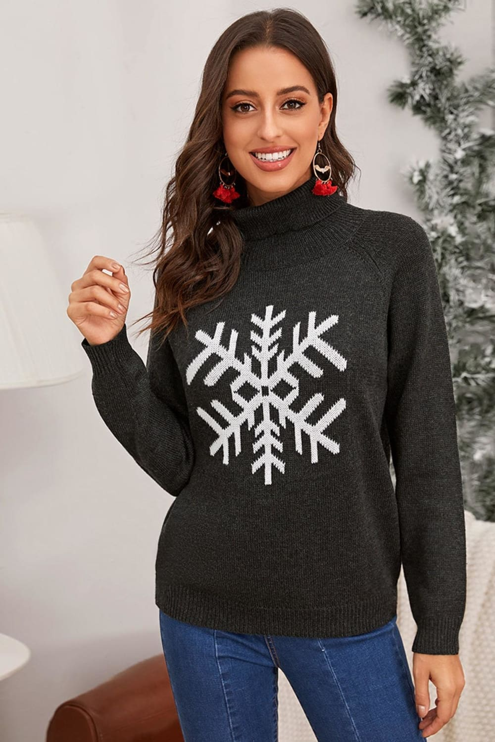 A Very Chic Christmas Grey Snowflake Turtleneck Sweater - Sweaters - Evan & Jane