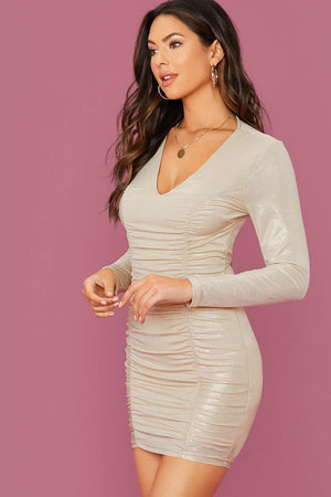 Anything For You Beige Glitter Bodycon Dress - Dresses - Evan & Jane