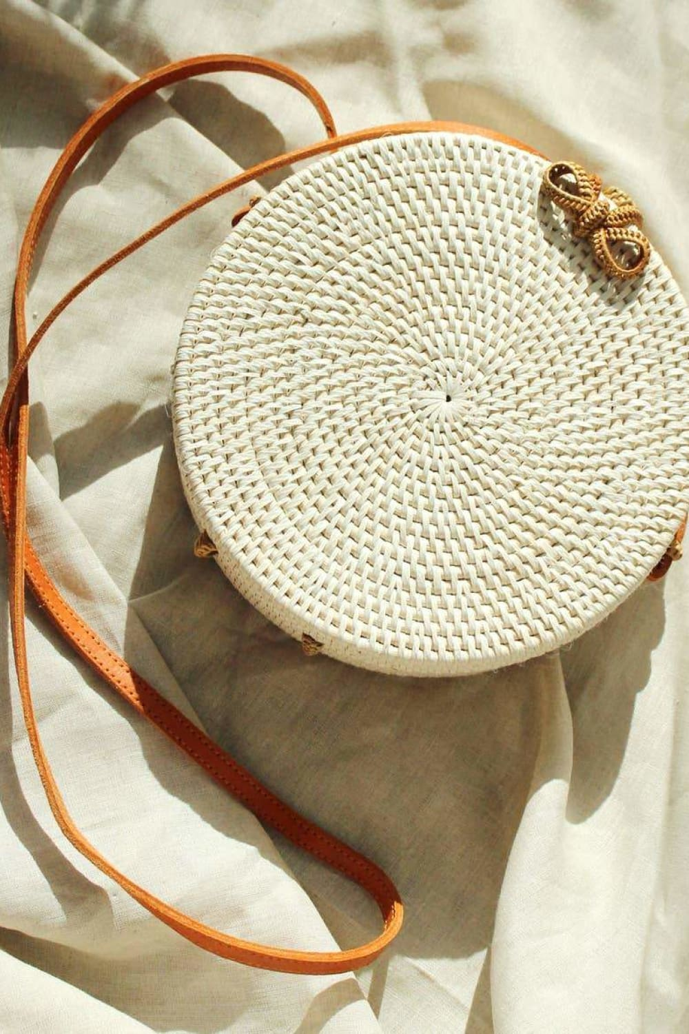 Atta Reina Cross-Body Round Rattan Straw Bag - Bags - Brunna Co