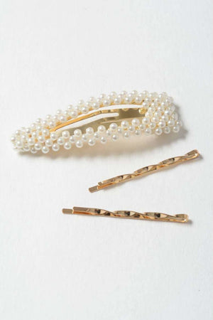 Bailey Pearl Barette & Bobby Pin Set - Hair Accessories - Leto Accessories
