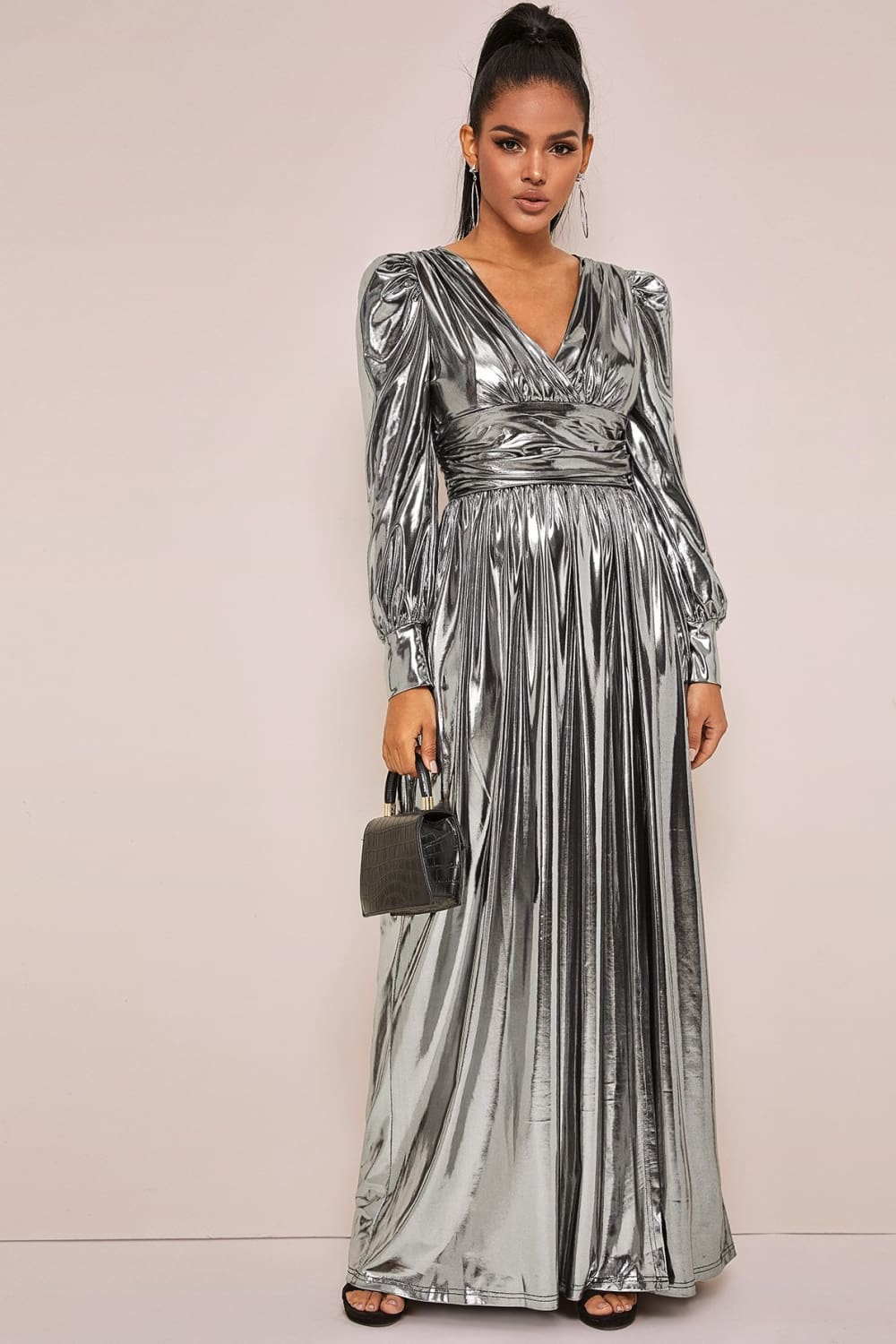 Ballroom Bound Metallic Wrap Dress - Dresses - Evan & Jane