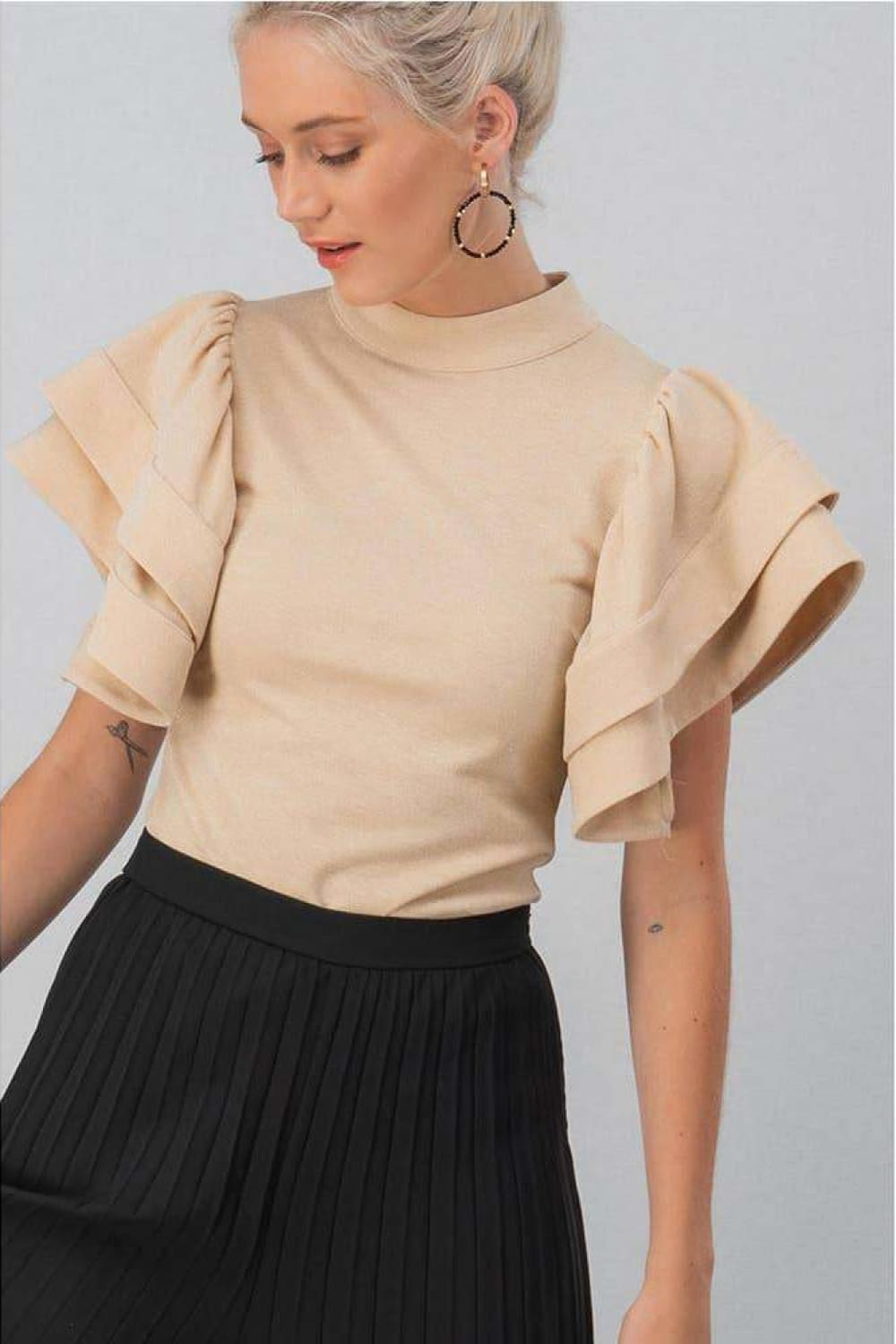 Bella Tiered Bell Sleeve Blouse - Blouses - trend:notes