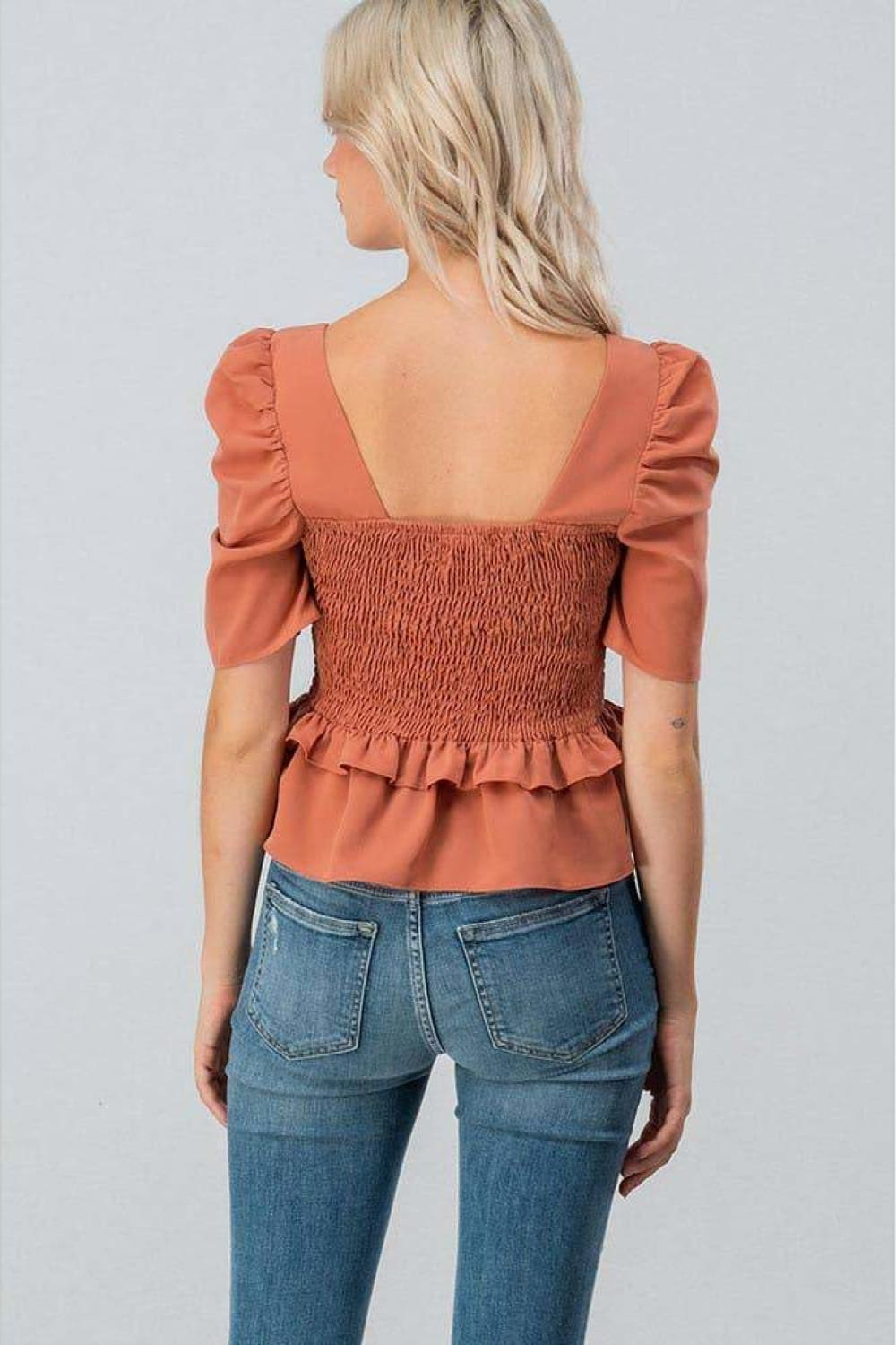 Brooklyn Puff Sleeve Smocked Peplum Blouse - Blouses - trend:notes