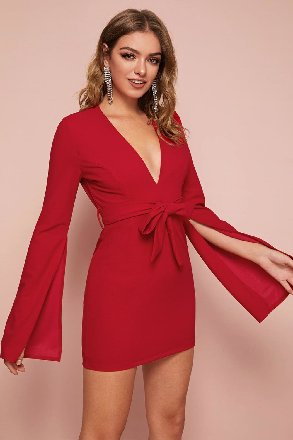 Champagne Showers Red Fitted Dress - Dresses - Evan & Jane
