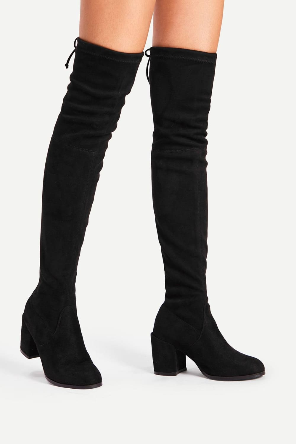 Giselle Black Faux Suede Over the Knee Boots - Shoes - Evan & Jane