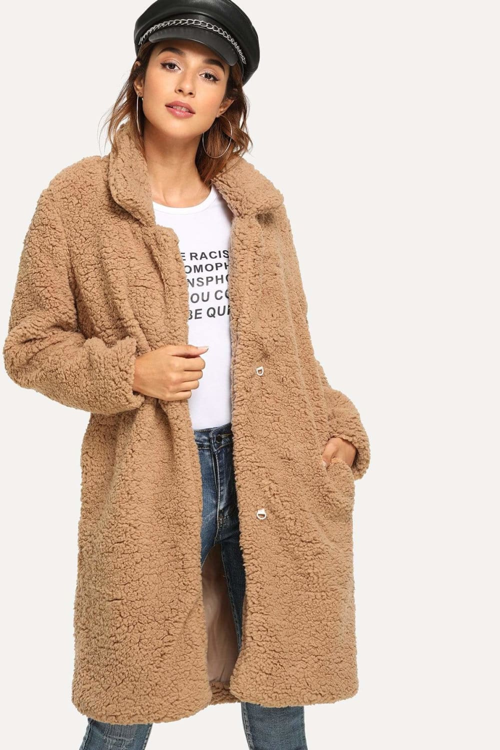 Hailey Long Teddy Coat in Camel - Outerwear - Evan & Jane