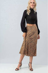 Isabella High Waist Leopard Midi Flare Skirt - Skirts - trend:notes