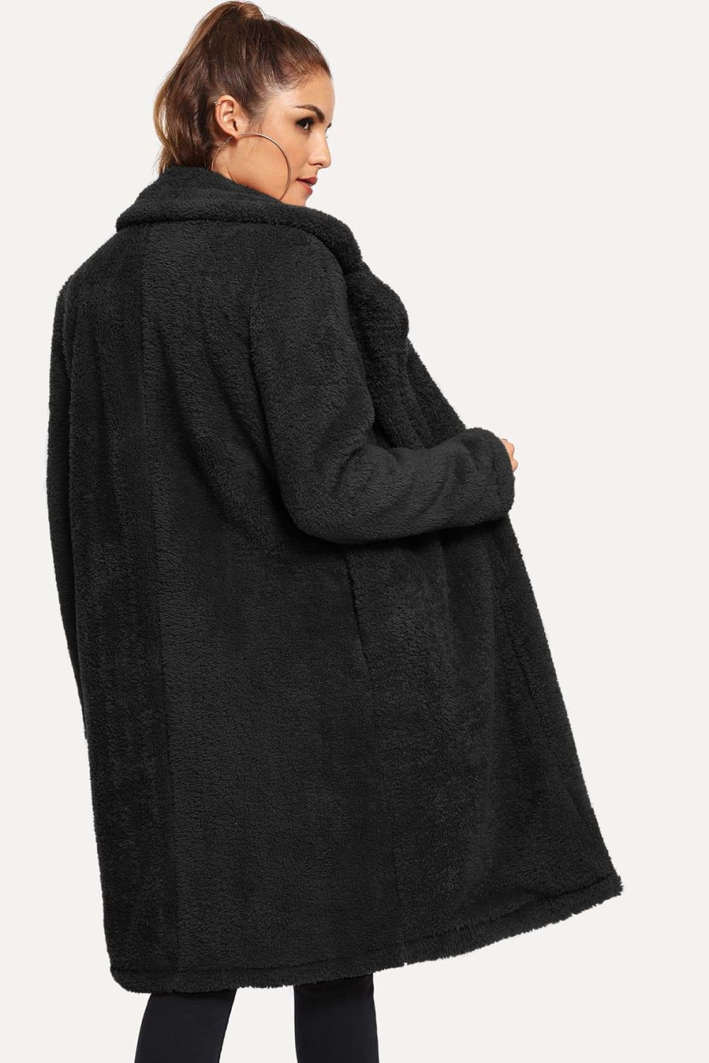 Johanna Long Teddy Coat in Black - Outerwear - Evan & Jane