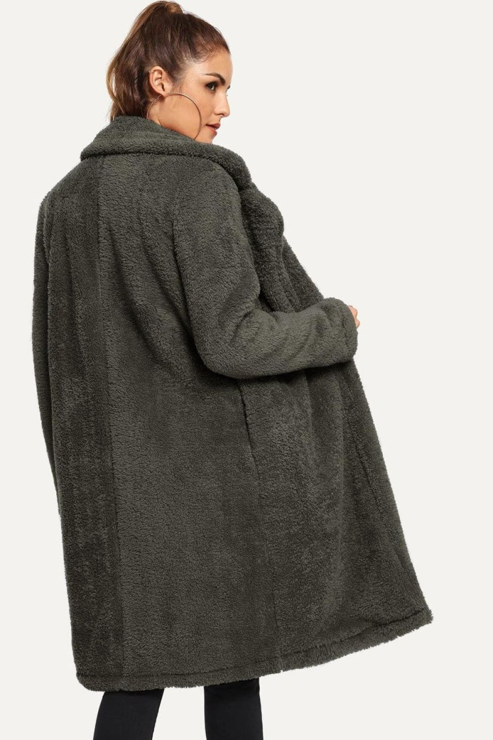 Johanna Long Teddy Coat in Grey - Outerwear - Evan & Jane