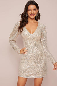 Joice Beige Sequin Bodycon Dress - Dresses - Evan & Jane