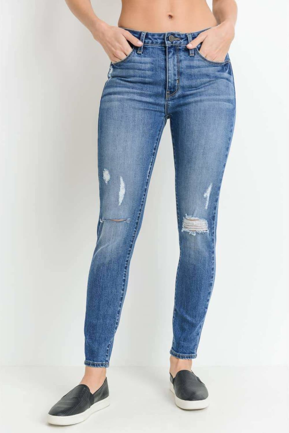JUST BLACK DENIM Distressed Skinny Jeans - Jeans - JUST BLACK DENIM