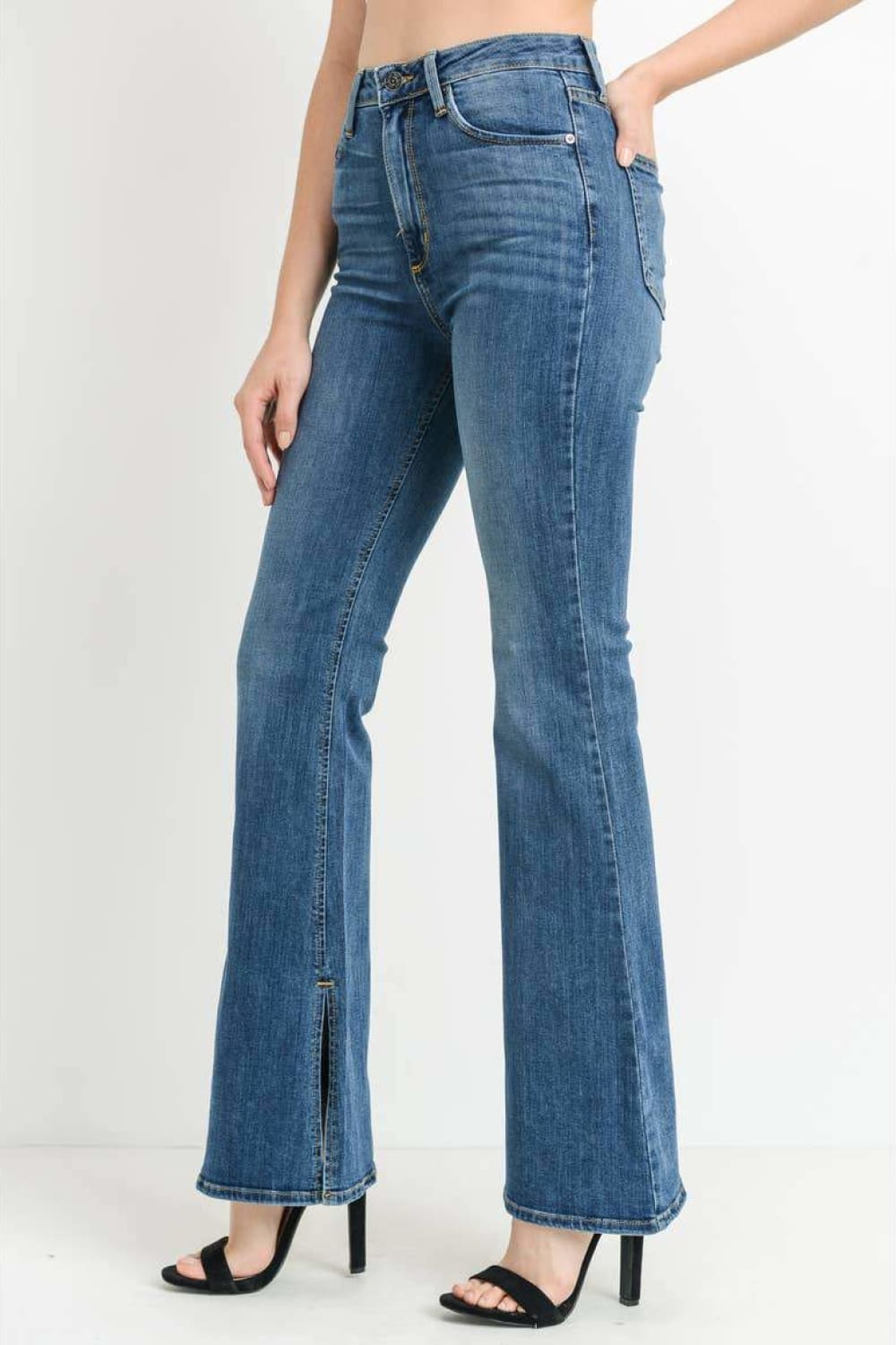 JUST BLACK DENIM High Rise Side Slit Flare Jeans - Jeans - JUST BLACK DENIM