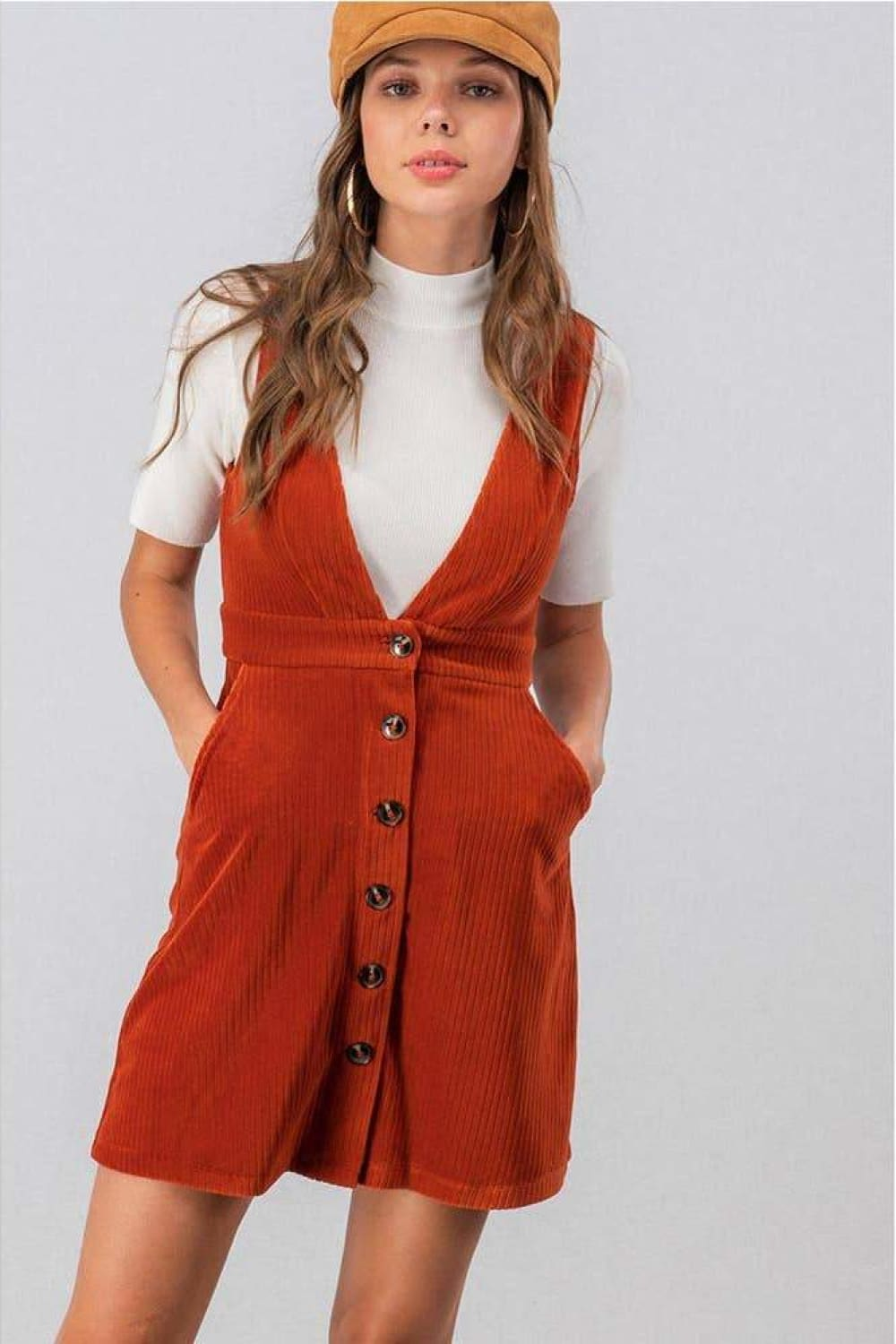 Khloe Corduroy Deep-V Button Overall Dress - Dresses - Evan & Jane