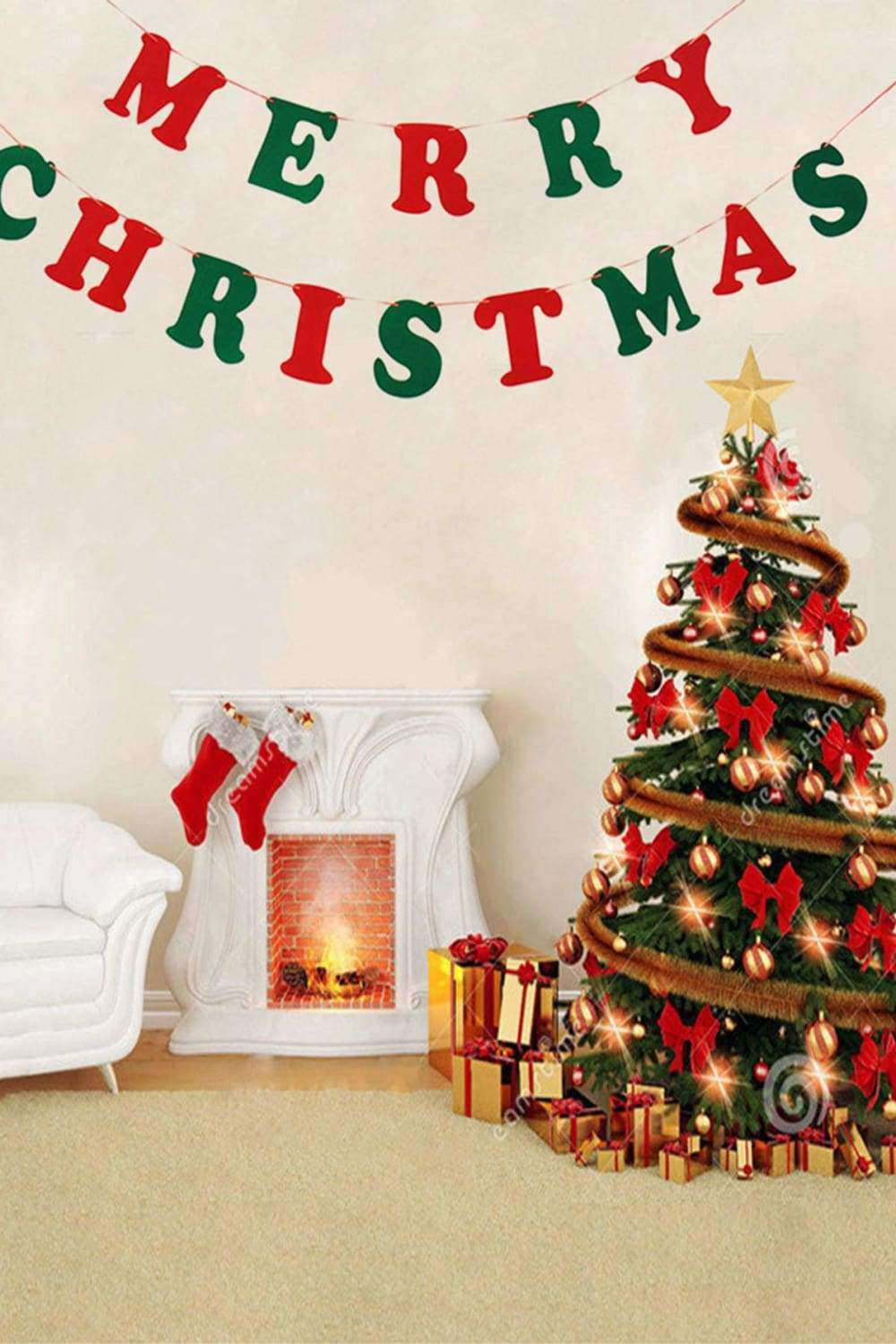 Merry Christmas Banner in Red & Green - Decor - Evan & Jane