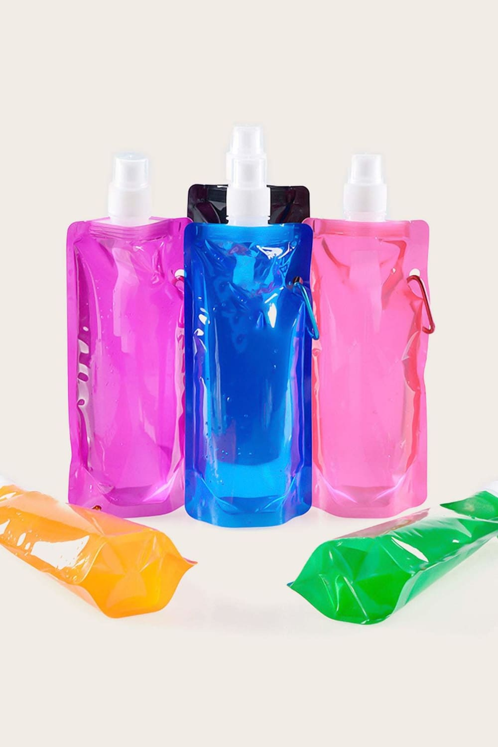 On the Go Collapsible Water Pouch (Set of 2) - Drinkware - Evan & Jane