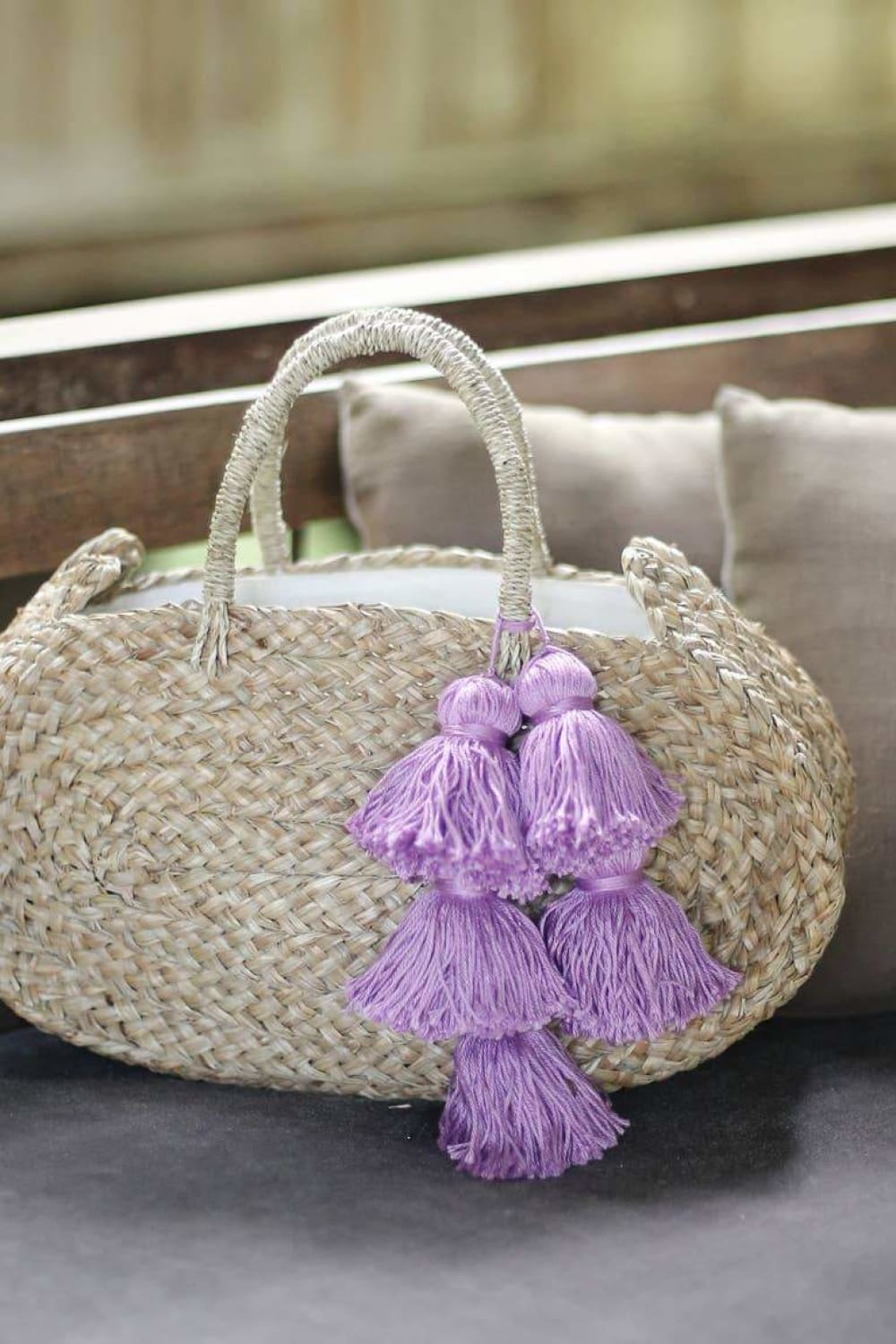 Oval Luna Straw Tote Bag - Bags - Brunna Co