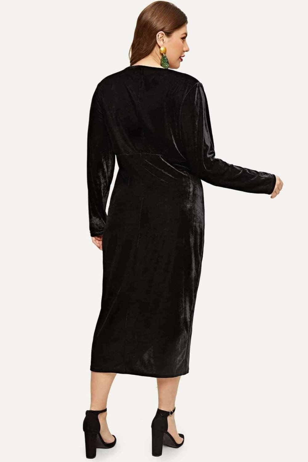Plus Amour Black Velvet Wrap Dress - Dresses - Evan & Jane