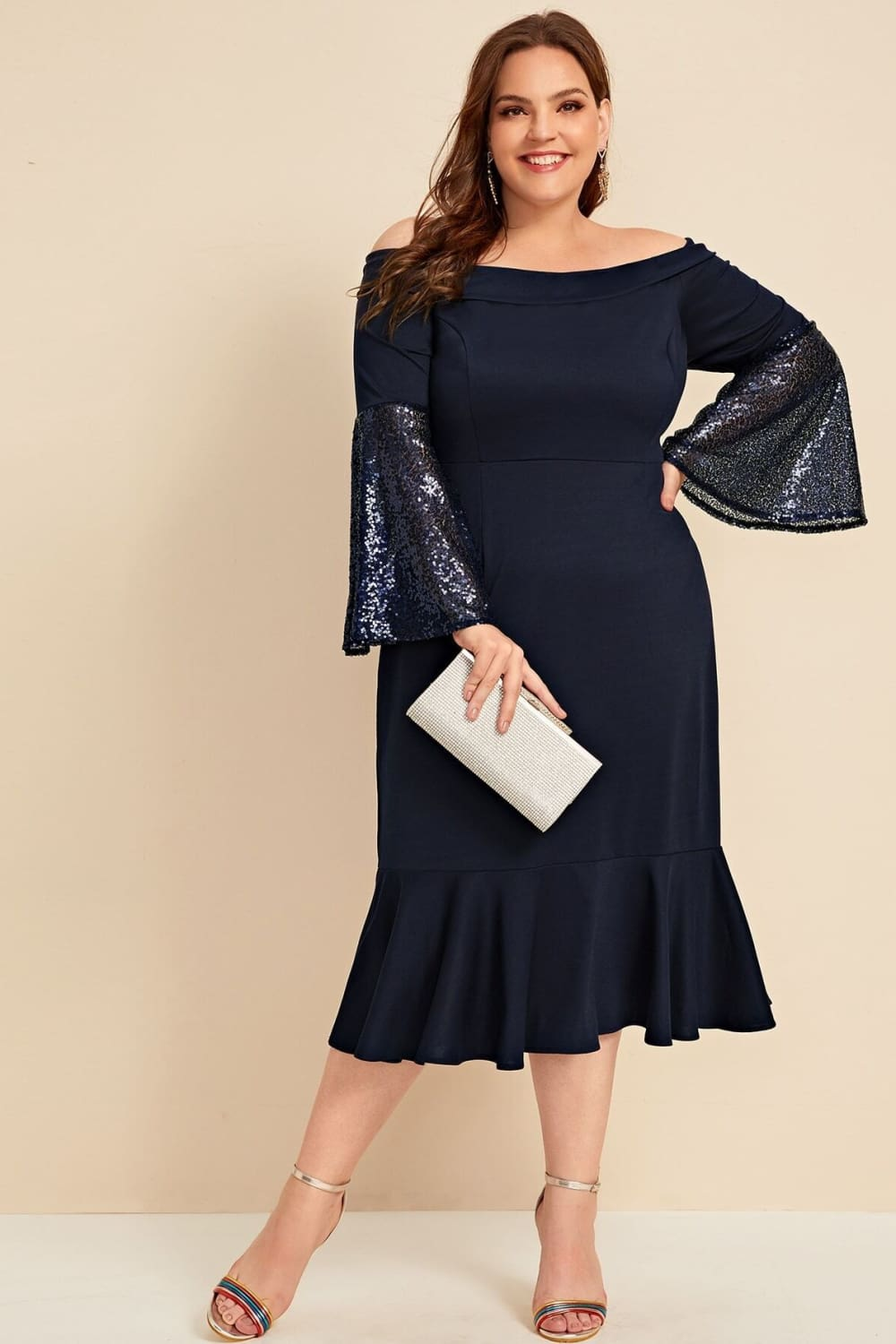 Plus Candlelit Date Navy Sequin Bodycon Dress - Dresses - Evan & Jane