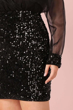 Plus Josy Black Sequin Bodycon Dress - Dresses - Evan & Jane