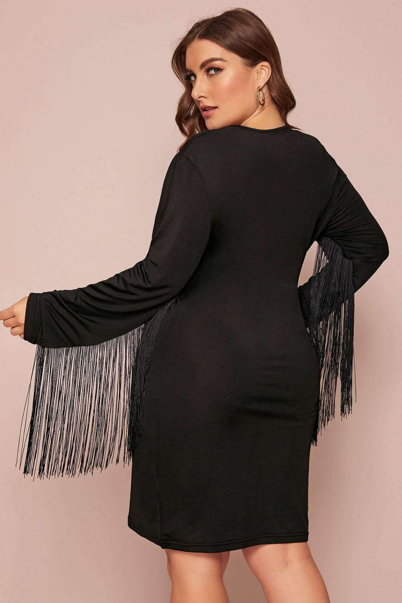 Plus Melora Black Fringe Dress - Dresses - Evan & Jane