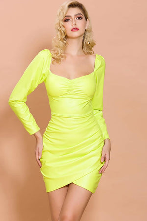 Swept Away Neon Green Bodycon Dress - Dresses - Evan & Jane