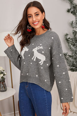 Winter Reindeer Grey Christmas Sweater - Sweaters - Evan & Jane