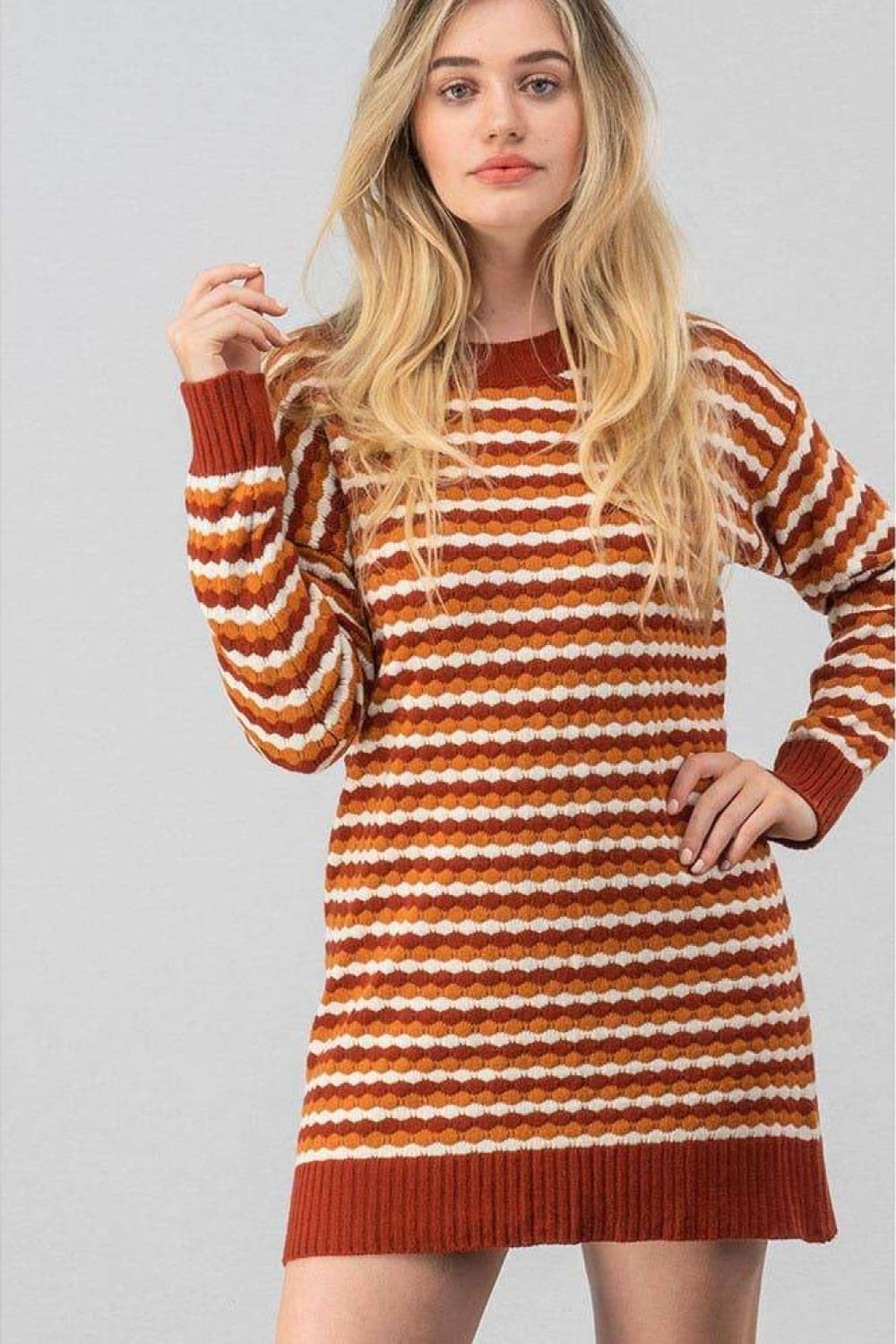 Zoey Texture Knit Striped Sweater Dress - Dresses - Evan & Jane