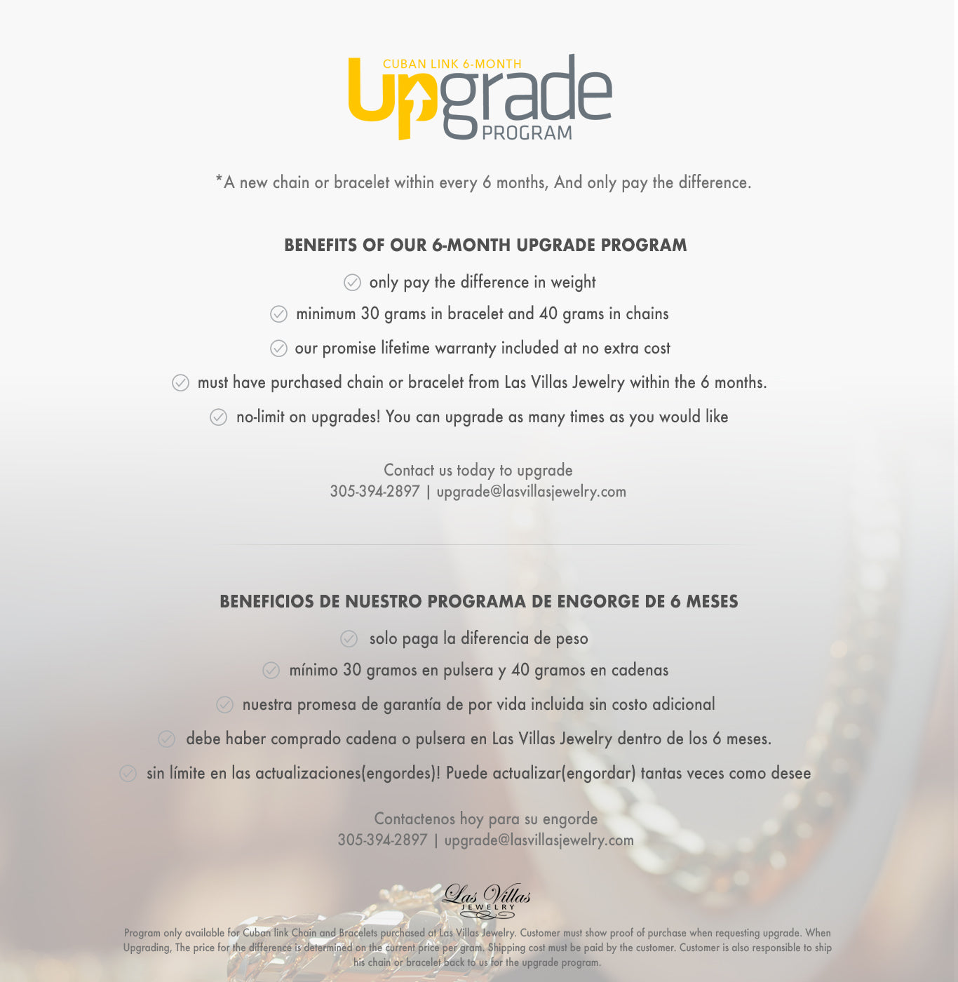 Cuban Link 6 Months Upgrade Program
