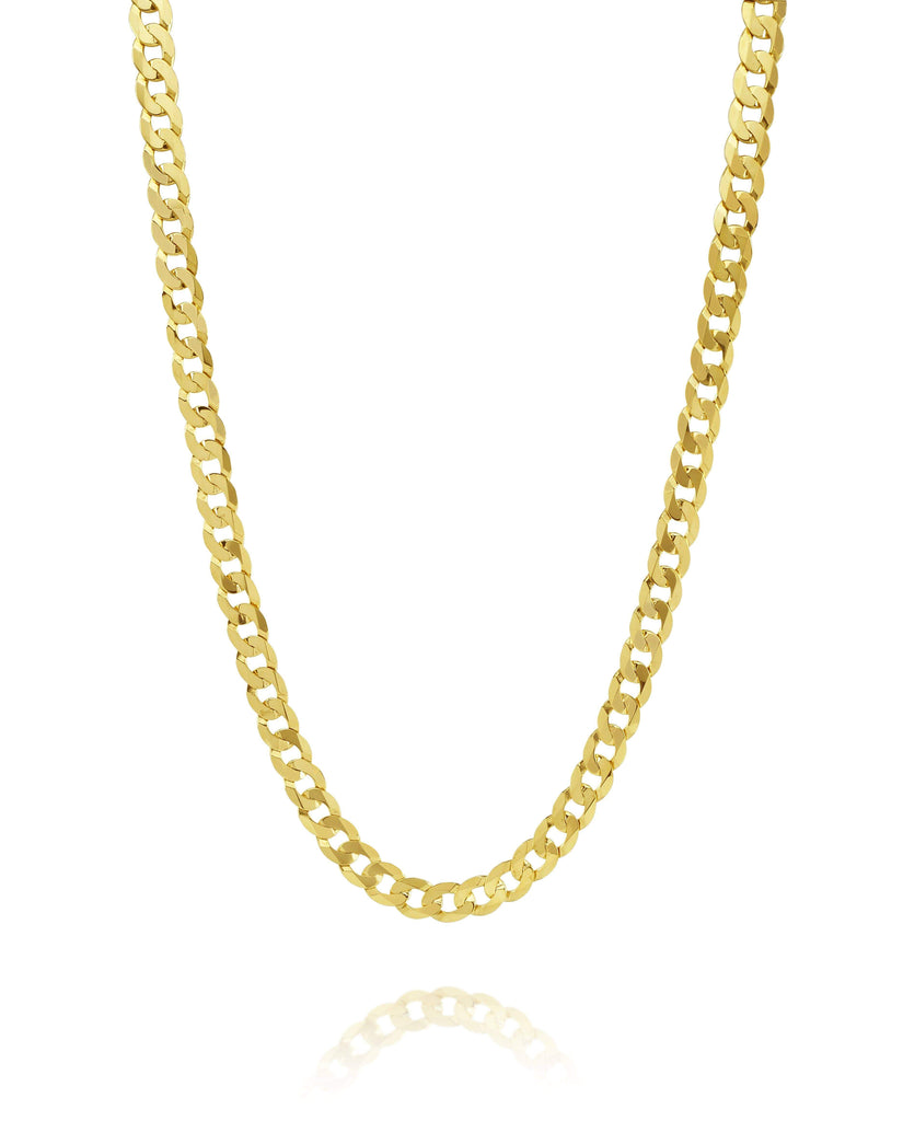 Las Villas Corte Brillo Flat Curb Link Chain in 10K Yellow Gold