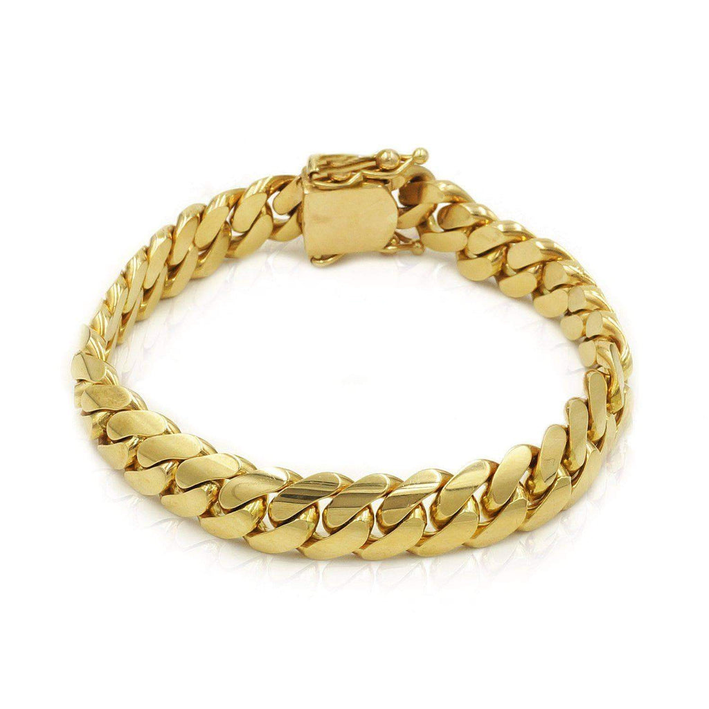 Las Villas Cuban Link Bracelet 10mm Solid Cuban Link Bracelet in 14K Yellow Gold