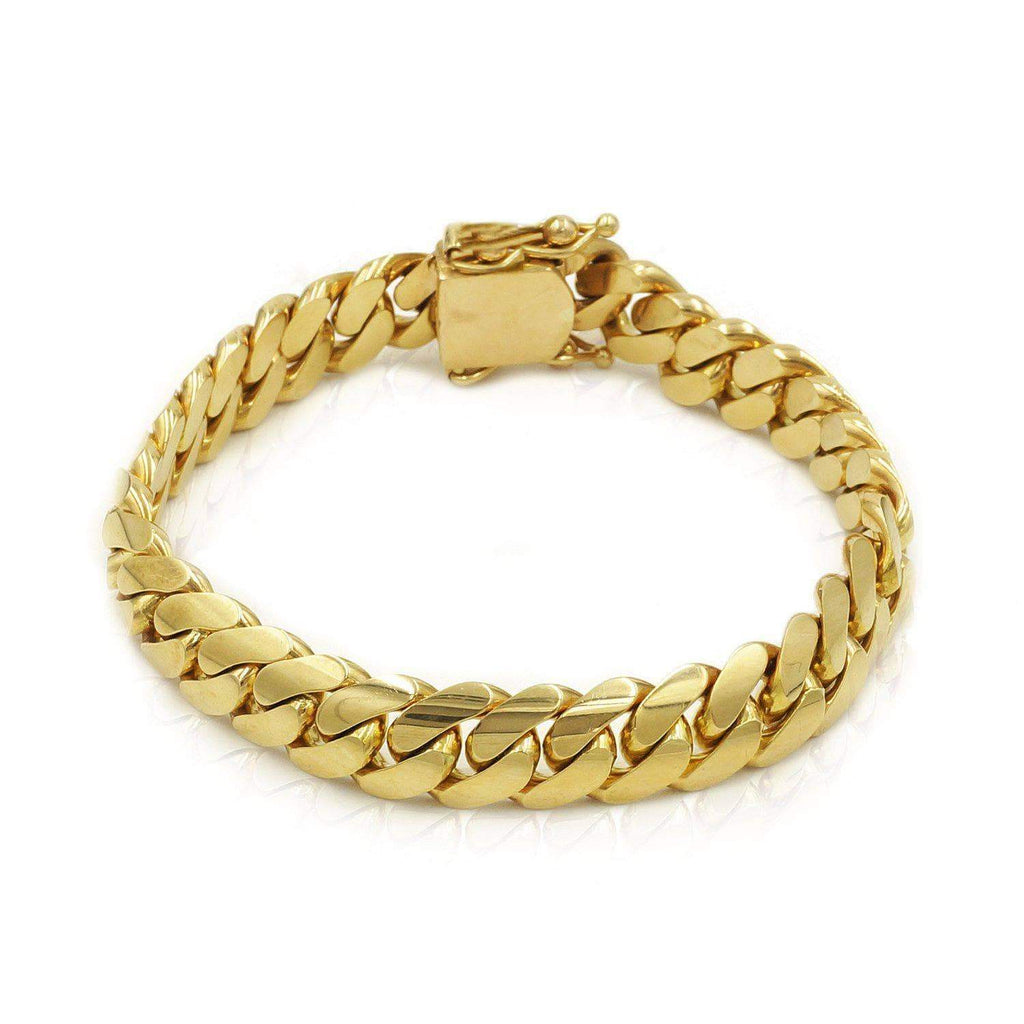 Las Villas Cuban Link Bracelet 10mm Solid Cuban Link Bracelet in 18K Yellow Gold