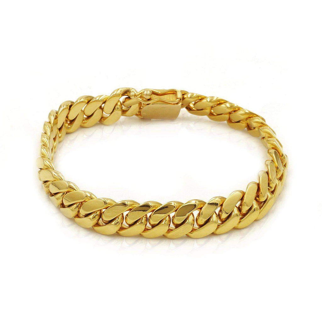 Las Villas Cuban Link Bracelet 11mm Solid Cuban Link Bracelet in 10K Yellow Gold