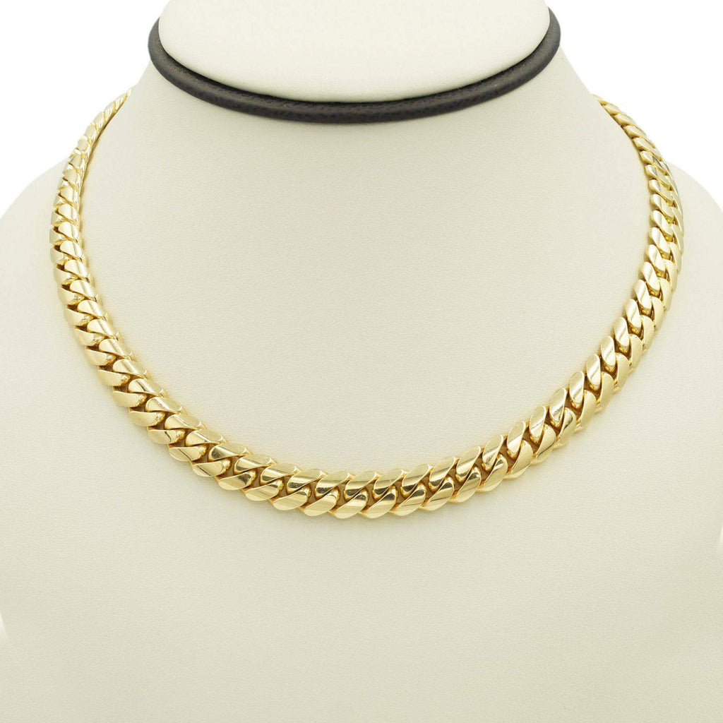 Las Villas Cuban Link Chain 10mm / 17 inch Cuban Link Choker in 10K Solid Gold