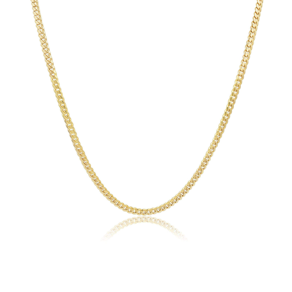 Las Villas Cuban Link Chain 4mm Micro Cuban Link Chain in 14K Solid Yellow Gold