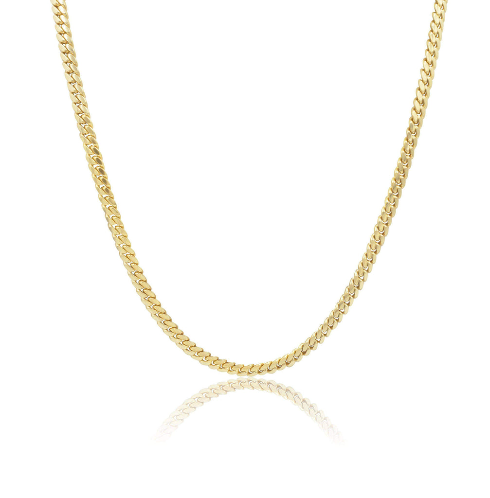 Las Villas Cuban Link Chain 5mm Micro Cuban Link Chain in 10K Solid Yellow Gold
