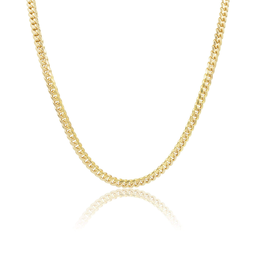 Las Villas Cuban Link Chain 6mm Micro Cuban Link Chain in 14K Solid Yellow Gold