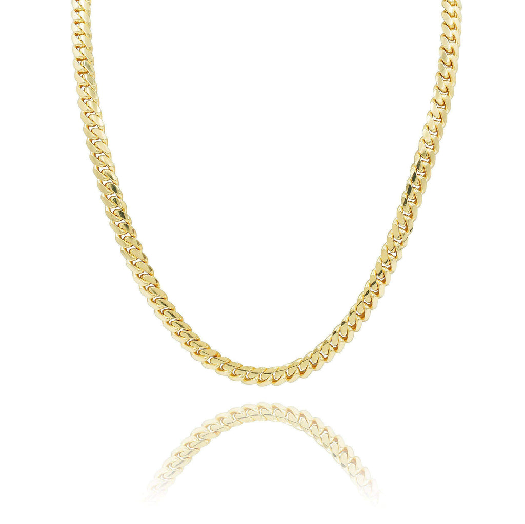 Las Villas Cuban Link Chain 7mm Micro Cuban Link Chain in 10K Solid Yellow Gold