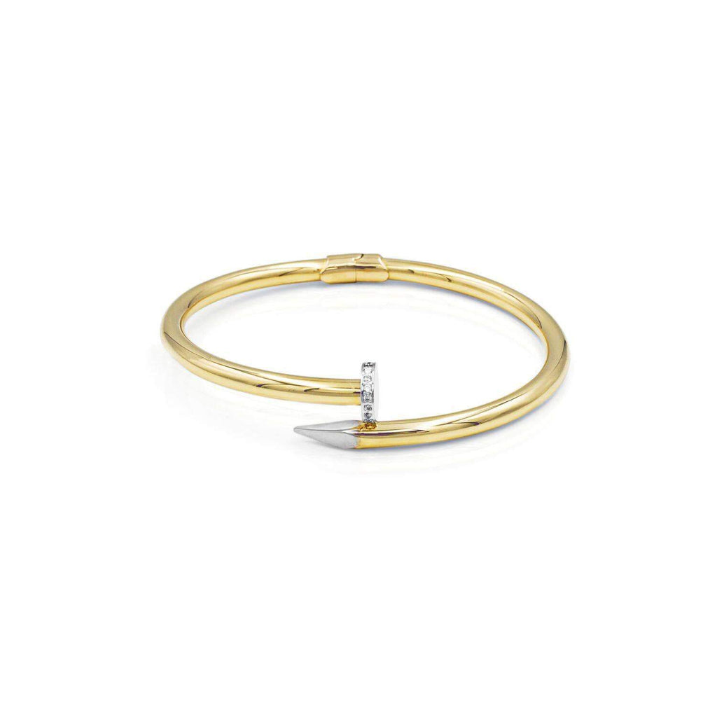 Las Villas Italian Bracelet Polished Nail Cuff Bracelet with CZ in 14k Gold