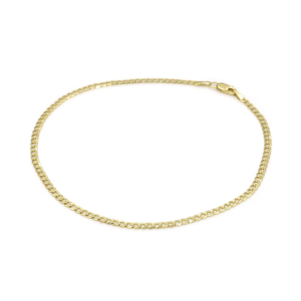 Las Villas Jewelry Anklets Womens Curb link Anklet in 14K Gold