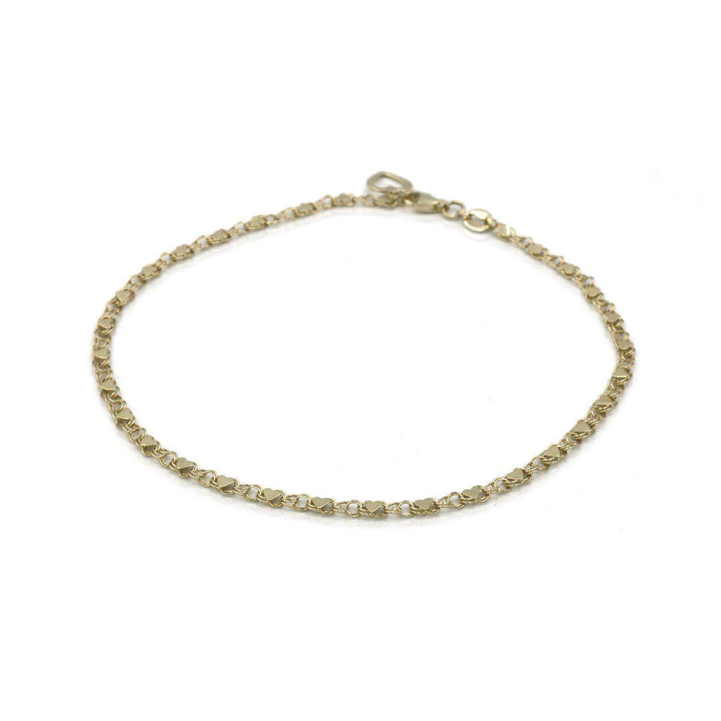 Las Villas Jewelry Anklets Womens hearts link Anklet in 14K Gold
