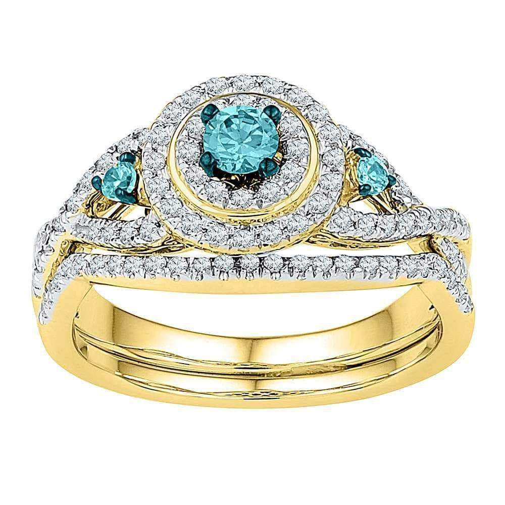 10kt Yellow Gold Womens Round Blue Color Enhanced Diamond Bridal