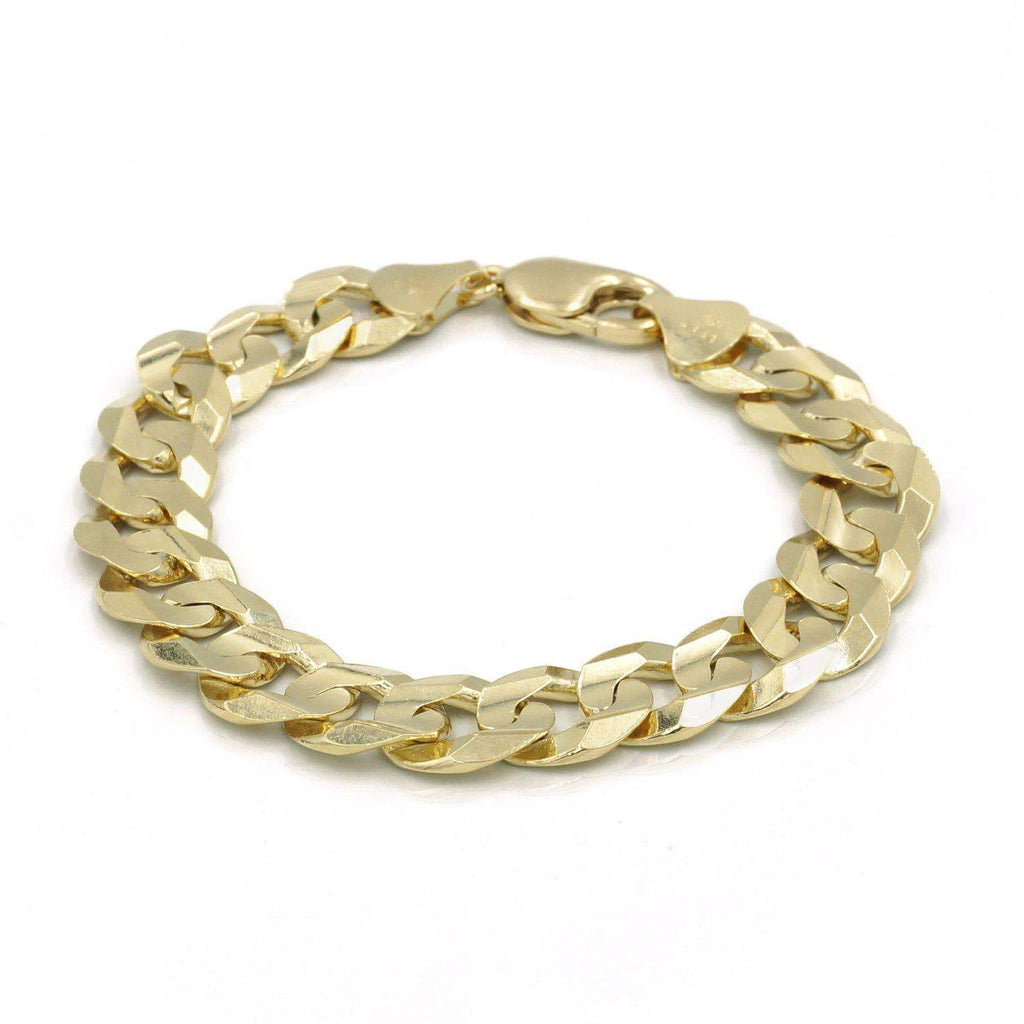 Las Villas Jewelry Curb Link Bracelet 12mm Flat Curb Link Bracelet in 14K Gold