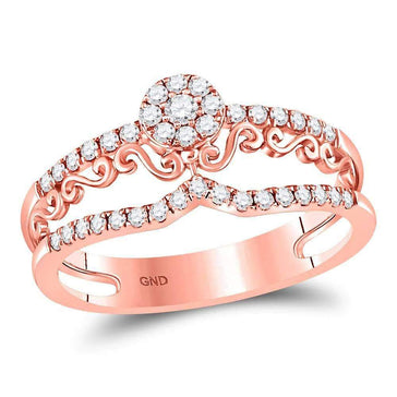Las Villas Jewelry Diamond Band 14kt Rose Gold Womens Round Diamond Flourished Cluster Band Ring 1/3 Cttw