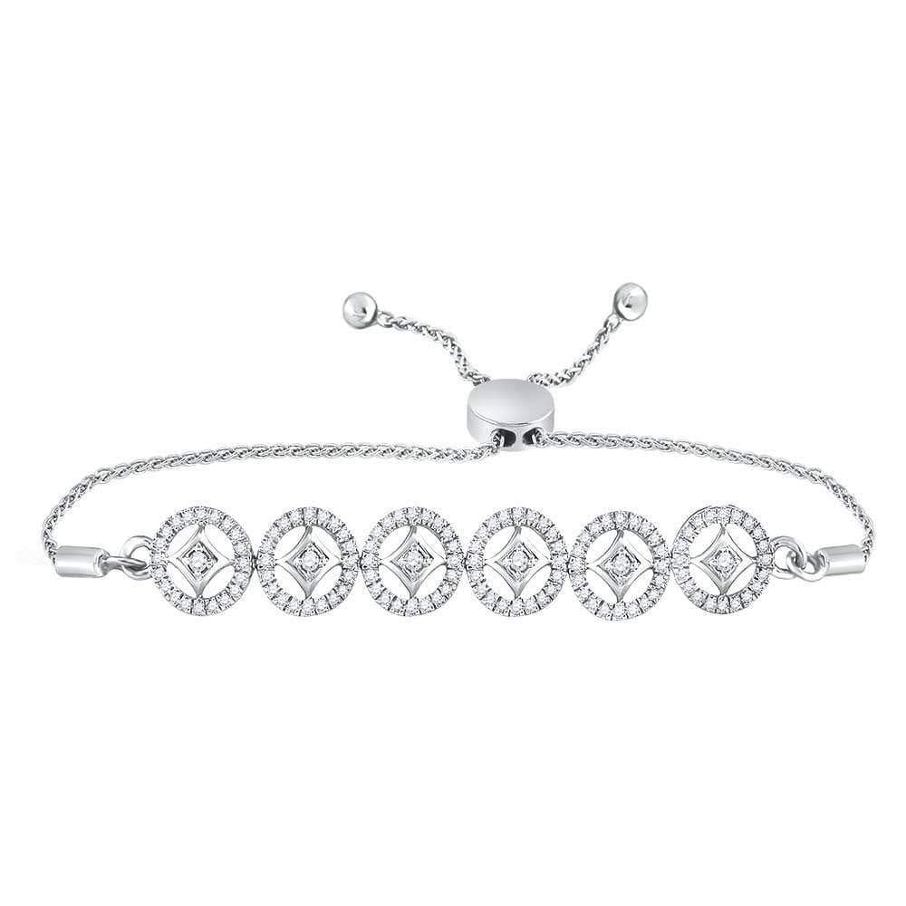 Las Villas Jewelry Diamond Bolo Bracelet 10kt White Gold Womens Round Diamond Joined Circles Bolo Bracelet 1/3 Cttw